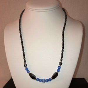 Jewelry - Beaded Necklace - Blue and Charcoal Gray/Black 22""